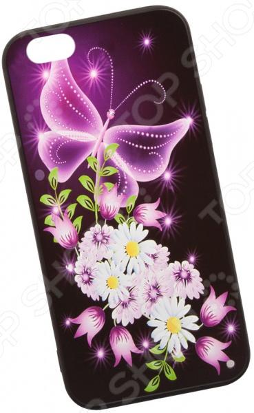 Чехол с защитным стеклом для iPhone 6/6S «Неоновая бабочка с цветами»