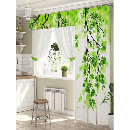 Купить Комплект штор для окна с балконом ТамиТекс «Веточка»