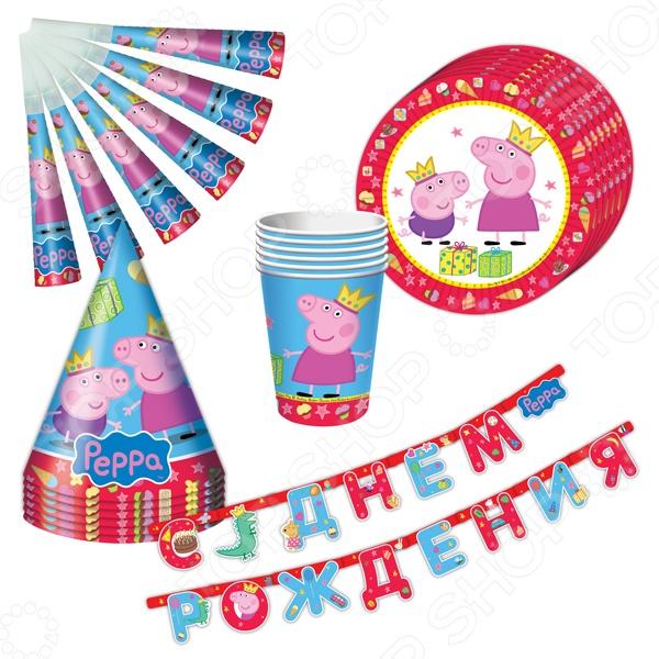 Набор сервировочный одноразовый Peppa Pig «Пеппа-принцесса» наборы для праздника peppa pig набор посуды 25 предметов пеппа принцесса
