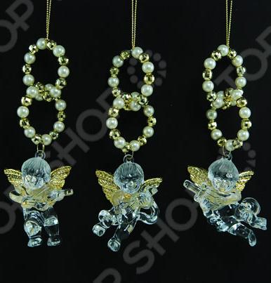 Новогоднее украшение Crystal Deco «Ангел с бусинами». В ассортименте