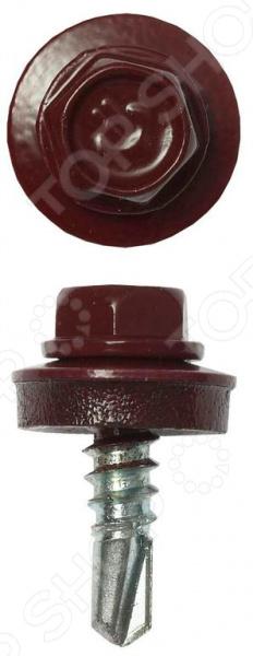 Набор саморезов кровельных Зубр СКМ для металлических конструкций. Цвет: темно-красный