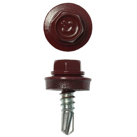 Купить Набор саморезов кровельных Зубр СКМ для металлических конструкций. Цвет: темно-красный