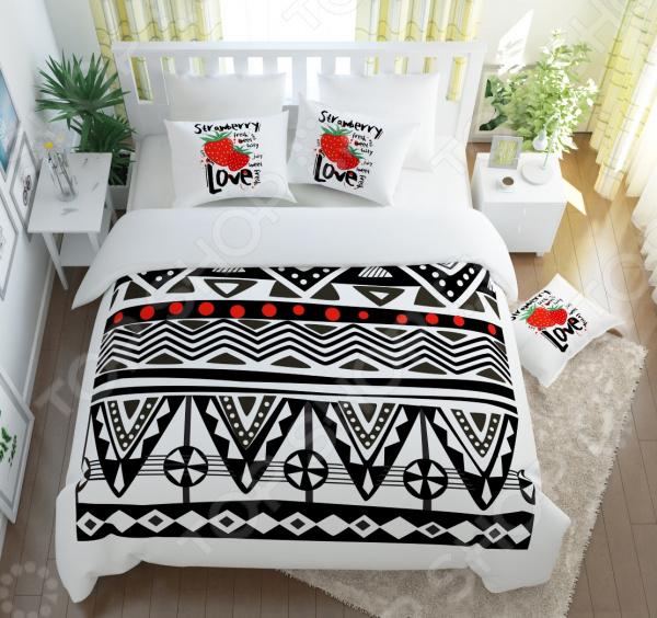 Комплект постельного белья Сирень «Клубника Love». Семейный