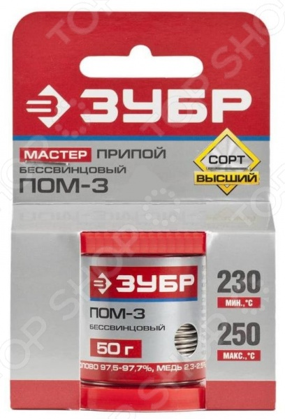 Припой Зубр 55456-050-10 предназначен для профессионального использования и применяется для пайки трубопроводов, различных металлических проводов материал медь, железо, латунь, свинец , а также для абразивной пайки. В состав изделия входит 97 олова и 3 меди, что обеспечивает максимально надежную и качественную пайку. В комплекте представлена удобная упаковка для хранения и транспортировки припоя. Диаметр проволоки 1 мм, температура плавления: 230-250 градусов. Вес 50г.