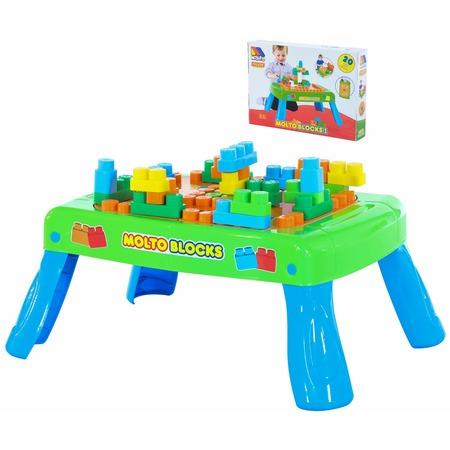Купить Столик с конструктором POLESIE Molto Blocks. Количество элементов: 20