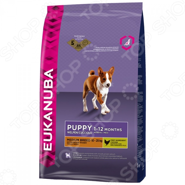 Корм сухой для щенков средних пород Eukanuba Puppy Medium Breed