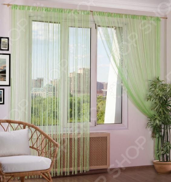 Шторы нитяные Алтекс однотонная. Цвет: салатовый шторы haft нитяные шторы deniz цвет белый