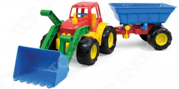 Трактор игрушечный Zebratoys Active с ковшом и прицепом трактор zebratoys active с ковшом 17 см разноцветный 15 5224