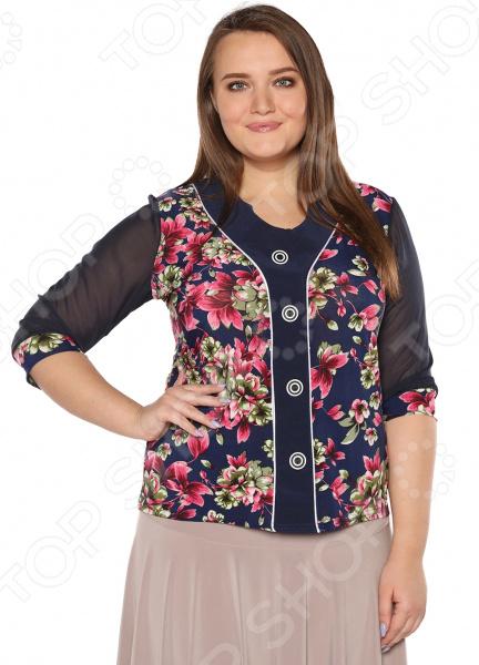 Блуза LORICCI «Цветочный авангард». Цвет: малиновый