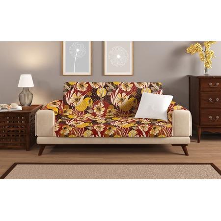 Купить Универсальная накидка «Уютный дом» на трехместный диван. Цвет: бордовый