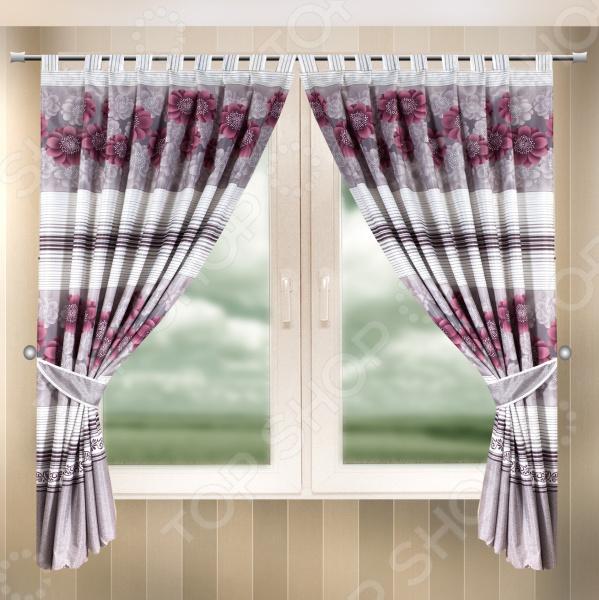 Комплект штор Zlata Korunka Stripes&Flowers комплект штор с покрывалом для спальни в москве