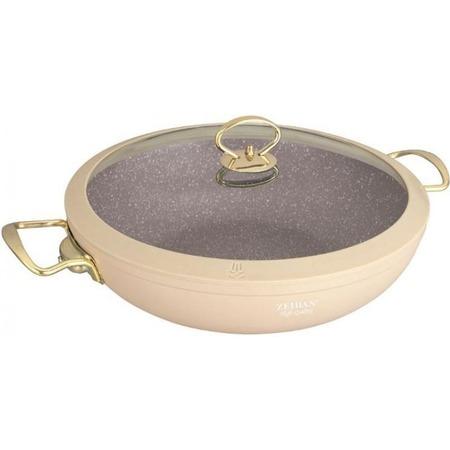Купить Сковорода вок с крышкой Zeidan Granite Pfluon