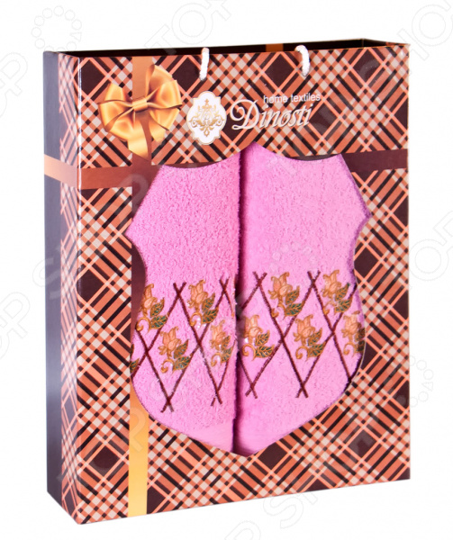 Комплект из 2-х махровых полотенец Dinosti «Подарок». В ассортименте сирень classik б 50х90 70х130 в коробке набор полотенец фиеста