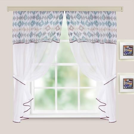 Комплект легких штор WITERRA «Кристалл. Этно». Цвет: морской волны