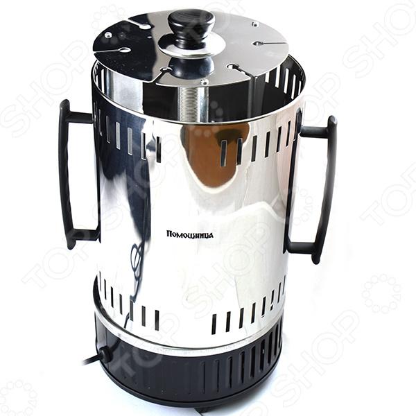 Электрошашлычница Помощница 6 это отличная возможность устроить пикник с шашлыками, не выходя из дома. Корпус прибора выполнен из высококачественного металла и ударопрочного пластика. Электрошашлычница оборудована системой автоматического вращения шампуров, шестью чашами для сбора стекающего жира и удобными ручками для переноски. Время приготовления шашлыков составляет около 15 минут, а максимальная загрузка 1 кг. В комплекте шесть шампуров длиной 31 см каждый.