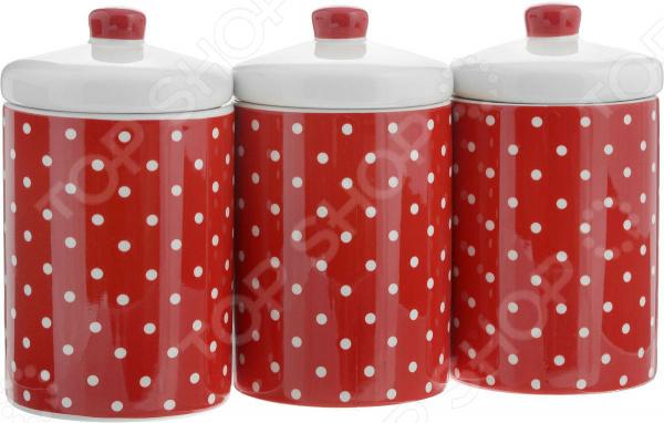 Набор банок для сыпучих продуктов Loraine «Узор горошка» набор банок для сыпучих продуктов loraine бабочки 6 предметов 25633
