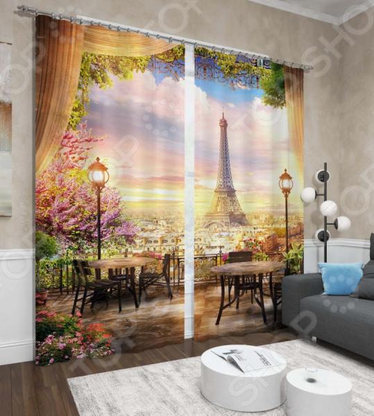 фото Фотошторы Сирень «Утренний кофе в Париже», Фотошторы с городскими пейзажами