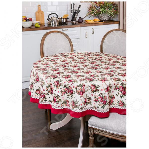 Скатерть круглая Santalino «Розовый сад» 850-833-23 сидушка на стул santalino райский сад 850 818 5