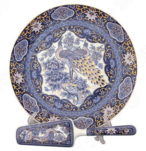 Тортница с лопаткой Elan Gallery «Павлин синий»