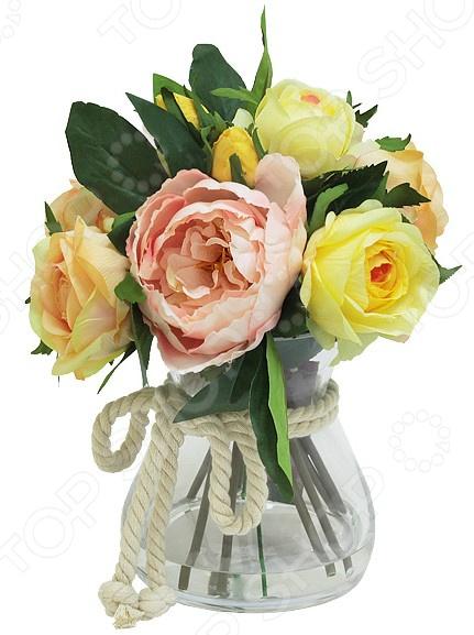 Декоративные цветы Dream Garden «Розы желтые и розовые» в вазе