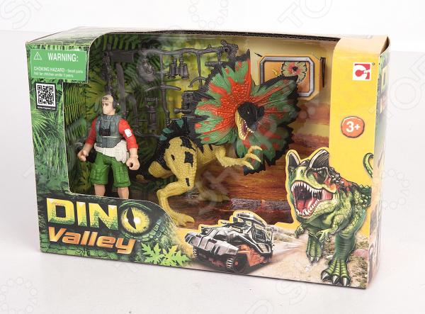 Игровой набор с фигуркой Chapmei «Дилофозавр и охотник со снаряжением»