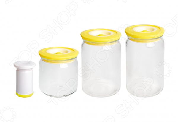 Набор вакуумных банок с насосом Bayerhoff BH-5196 набор банок для пищевых продуктов цвет зеленый оранжевый бордовый 3 шт