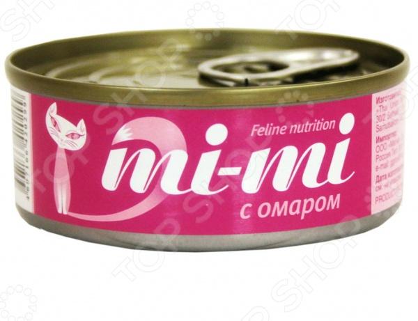 Корм консервированный для кошек Mi-Mi с омаром консервы mi mi feline nutrition с креветками кусочки в желе для кошек 80г