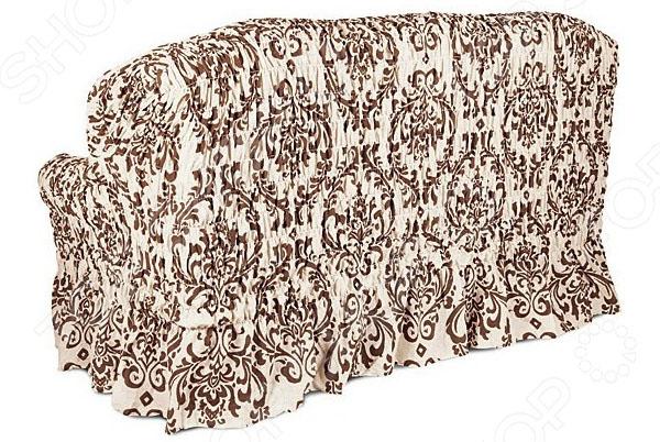 Натяжной чехол на двухместный диван Еврочехол «Фантазия. Венеция» 2