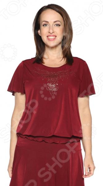 Блуза «Ослепительная» с мерцающим декором. Цвет: бордовый