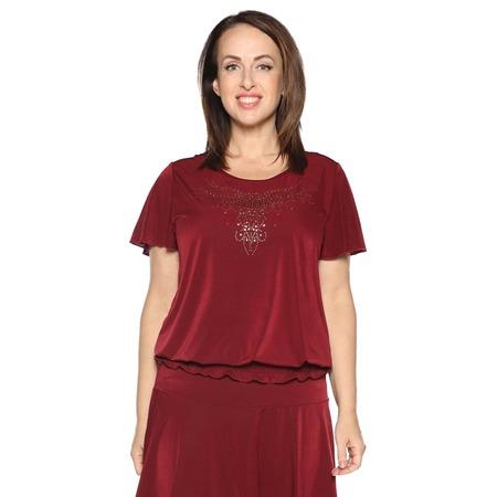 Купить Блуза «Ослепительная» с  мерцающим декором. Цвет: бордовый