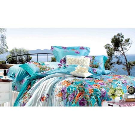 Купить Комплект постельного белья Guten Morgen 649. 1,5-спальный. Цвет: бирюзовый, белый