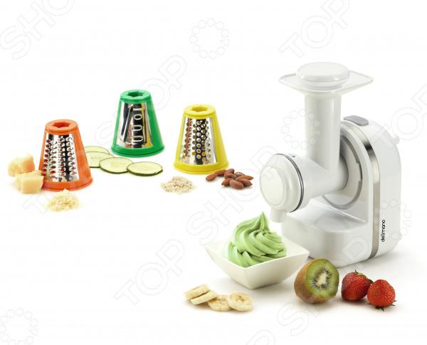 Практичный комплект принадлежностей для многофункционального мини-комбайна Delimano Family Kitchen Star. В комплекте вы найдете:  Насадку для нарезания продуктов тонкими ломтиками зеленая  Насадку для перемалывания приготовления пюре желтая  Мелкую терку для измельчения продуктов оранжевая  Прибор для изготовления десертов  Руководство пользователя С дополнительными насадками вы быстро и легко сможете нарезать продукты тонкими и мелкими ломтиками, перемолоть и приготовить пюре, а так же в комплект входит прибор для приготовления замороженных десертов. Готовьте вкусные холодные десерты дома! С прибором для приготовления замороженных десертов можно самим готовить разнообразные десерты из замороженных фруктов, мороженого, замороженного йогурта и сока или густой сметаны. Этот прибор можно использовать для приготовления свежих фруктовых пюре. Просто нарежьте фрукты на мелкие кусочки и поместите в насадку.