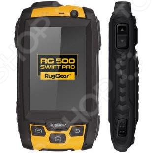 Мобильный телефон защищенный RugGear RG500 Swift Pro надежный смартфон для экстремальных условий. Телефон будет удобен для использования в путешествиях, походах в горы, во время катания на квадроциклах, аквабайках и прочем. Корпус изготовлен из ударопрочного материала, который убережёт внутренности телефона при падении. Имеет компактно размещенные кнопочки и сенсорный дисплей. Отлично ловит сигнал и батарейка держится долго. Несмотря на встроенную память, телефон поддерживает флеш-карту типа microSD до 32 гб. Оснащен двухядерным процессором MT6572, с частотой 1.2 ГГц. Встроенная оперативная память 512 Мб. Особенности:  Стандарт защиты IP68;  Непроницаемость для пыли и микрочастиц;  Голосовой набор, сенсорное управление;  Поставляется с аккумулятором повышенной емкости 2060 мАч. Дополнительно:  FM-радио, компас, G-Sensor;  Светодиодный фонарик для работы необходимо скачать приложение из Google Play;  Поддержка звука: MP3, WAV, OGG, AMR, MIDI, ACC;  Поддержка видео: MPEG4, 3GP2, WMV, H.264, H.263;  Разъемы: micro-USB 2.0, 3,5 мм для наушников.