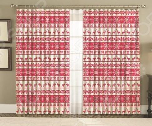 Комплект фотоштор МарТекс «Скандинавия». Цвет: красный