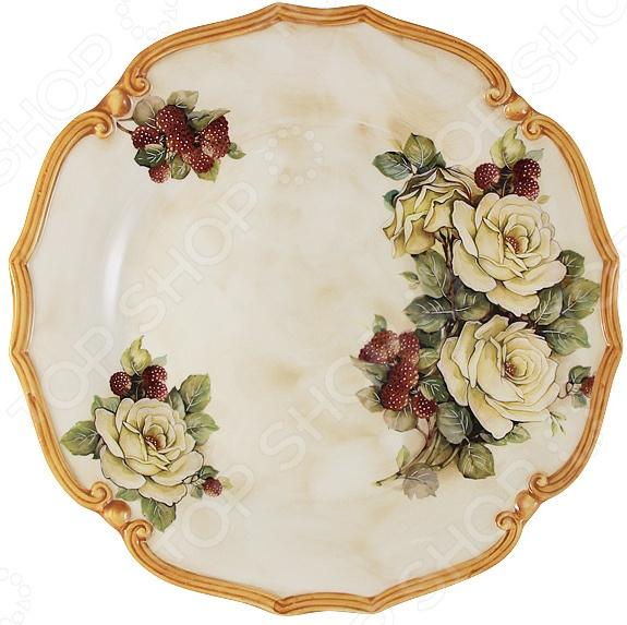 Блюдо круглое LCS «Роза и малина»