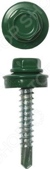 Набор саморезов кровельных Stayer СКМ для металлических конструкций. Цвет: темно-зеленый
