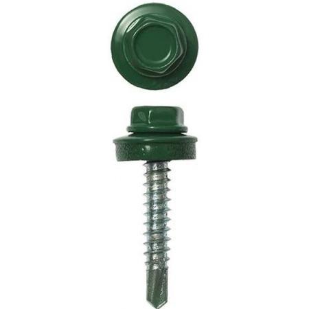 Купить Набор саморезов кровельных Stayer СКМ для металлических конструкций. Цвет: темно-зеленый
