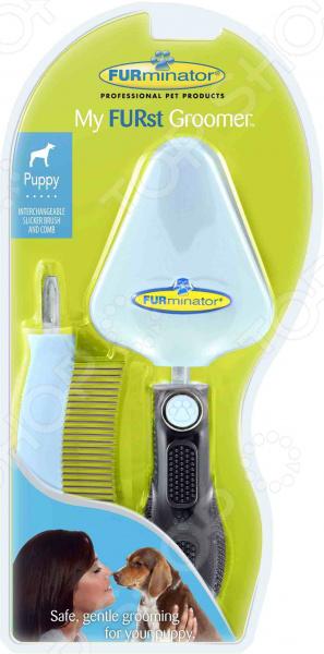 Набор: сликер и расческа для щенка FURminator My FURst Groomer фурминатор для собак короткошерстных пород furminator short hair large dog