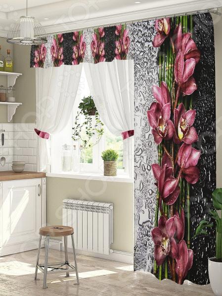 фото Комплект штор для окна с балконом ТамиТекс «Орхидея на стекле», Шторы для окна с балконом