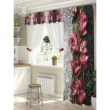 Купить Комплект штор для окна с балконом ТамиТекс «Орхидея на стекле»