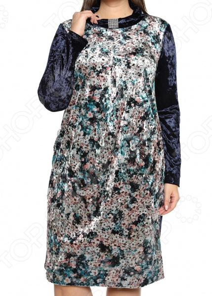 Платье Лауме-Лайн «Бархатный букет». Цвет: темно-синий