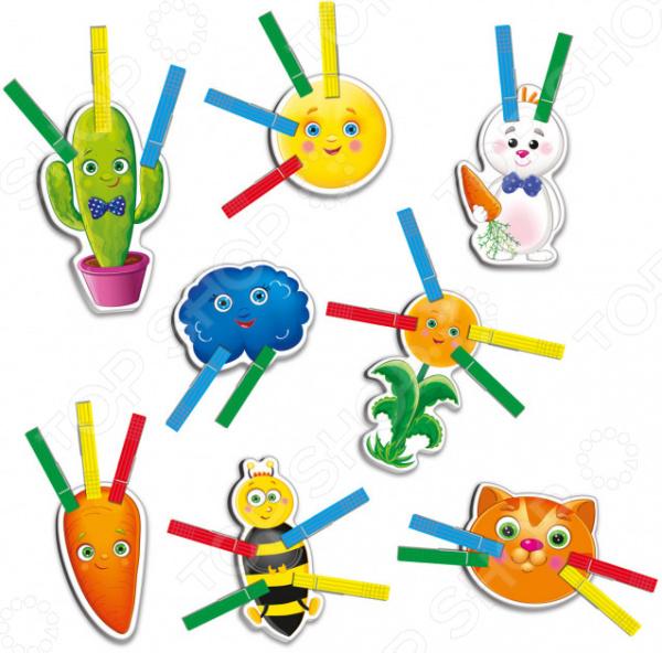 Игра развивающая Vladi Toys с прищепками «Смешная компания» настольная игра vladi toys игры с прищепками внимательный малыш