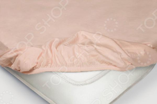 Простыня на резинке Ecotex трикотажная. Цвет: розовый