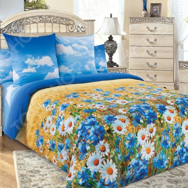 Комплект постельного белья Королевское Искушение «Васильки». Цвет: синий