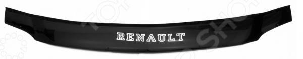 Дефлектор капота REIN Renault Logan, 2005-2011, седан (ЕВРО-крепеж)
