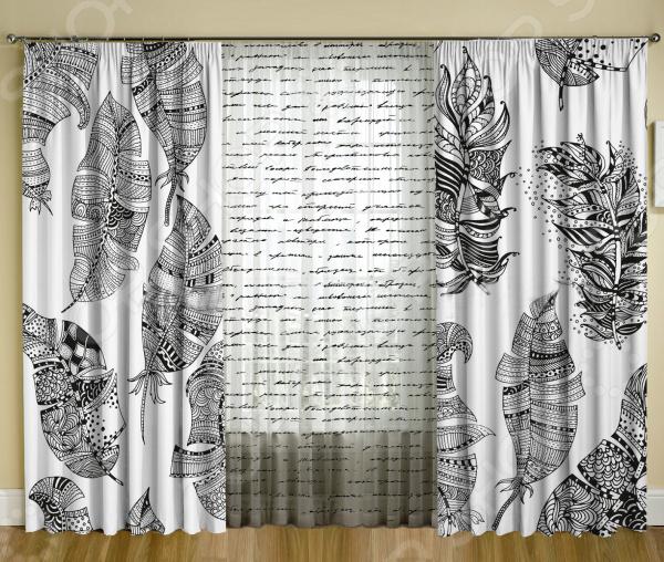 Комплект фотоштор с тюлем ТамиТекс «Письмо чернилами»