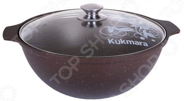 Казан Kukmara «Кофейный мрамор» со стеклянной крышкой сковорода d 24 см kukmara кофейный мрамор смки240а