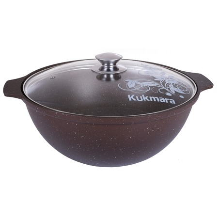 Купить Казан Kukmara «Кофейный мрамор» со стеклянной крышкой