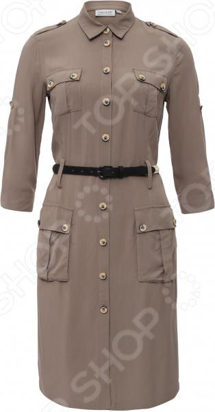 Платье Finn Flare S16-11043. Цвет: светло-коричневый