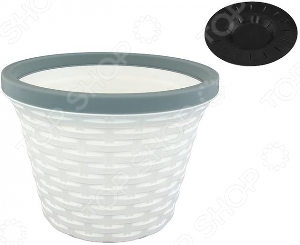 Кашпо круглое с дренажем Violet «Ротанг». Цвет: белый